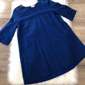 Umgee Pleaded Back Zipper Accent Royal Blue Dress